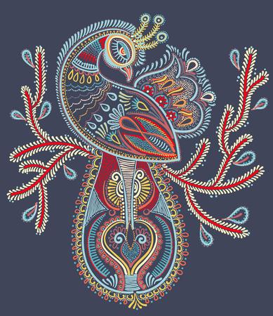 folk art: ethnic folk art of peacock bird with flowering branch design, vector dot painting illustration Illustration