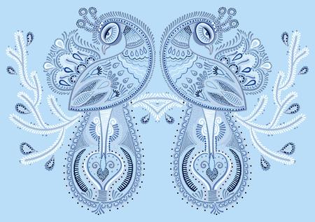 peafowl: winter blue ethnic folk art of peacock bird with flowering branch design, vector dot painting illustration