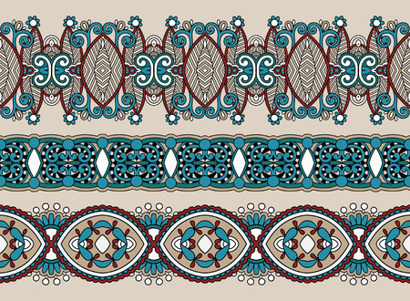 horizontal: ethnic horizontal  authentic decorative paisley pattern  for your design, geometric ukrainian carpet ornamental background, vector illustration