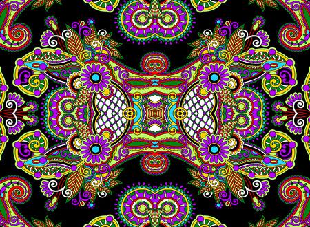 batik: ethnic horizontal  authentic decorative paisley pattern  for your design, geometric ukrainian carpet ornamental background, vector illustration