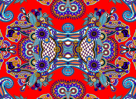 arabesque pattern: ethnic horizontal  authentic decorative paisley pattern  for your design, geometric ukrainian carpet ornamental background, vector illustration
