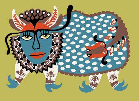 personages: Fantasy animal. Ukrainian traditional painting. Karakoko style. Ukrainian tribal ethnic painting, unusual animal, folk illustration