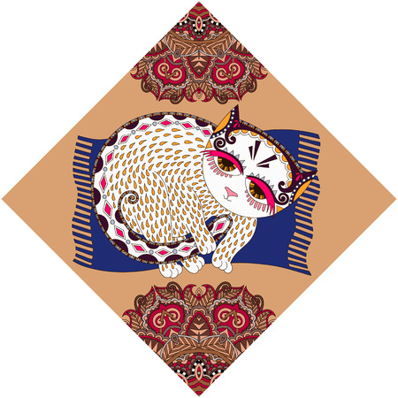 peinture ukrainienne tribale ethnique, inhabituelle animal chat, illustration populaire dans la composition de losange Vecteurs