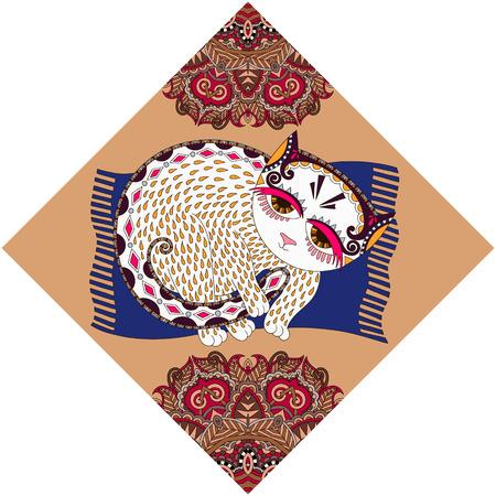 peinture ukrainienne tribale ethnique, inhabituelle animal chat, illustration populaire dans la composition de losange