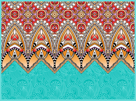 carpet: ethnic horizontal authentic decorative paisley pattern for your design, geometric ukrainian carpet ornamental background, vector illustration