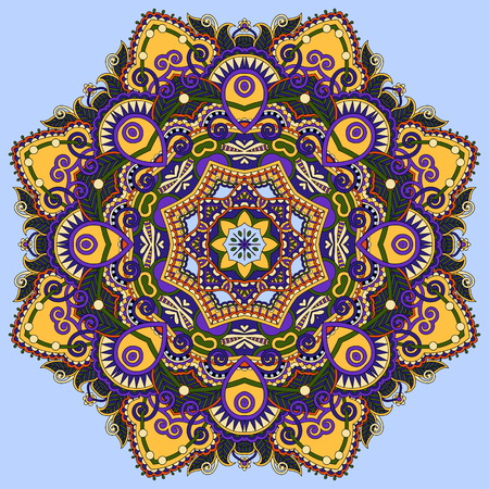 manipura: colour mandala, circle decorative spiritual indian symbol of lotus flower, round ornament pattern, vector illustration