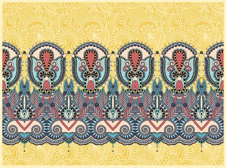 east: ethnic horizontal authentic decorative paisley pattern for your design, geometric ukrainian carpet ornamental background, vector illustration