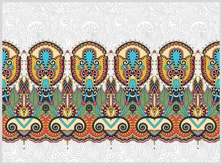 Ethnischen horizontal authentisch dekorative Paisley-Muster für Ihr Design, geometrische ukrainisch Teppich ornamentalen Hintergrund, Vektor-Illustration Standard-Bild - 49386734