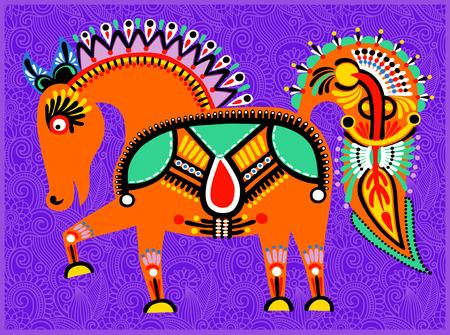 ukrainian traditional: decorative ethnic folk animals in Ukrainian traditional karakoko style - fantasy orange horse on floral background, vector illustration Illustration