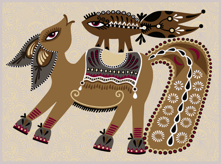 ukrainian tribal ethnic painting, unusual horse, folk vector illustration on floral background