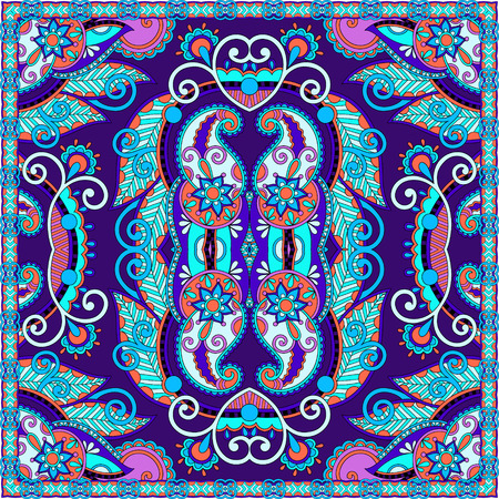 bandanna: Traditional ornamental floral paisley bandanna. You can use this pattern in the design of carpet, shawl, pillow, cushion, vector illustration