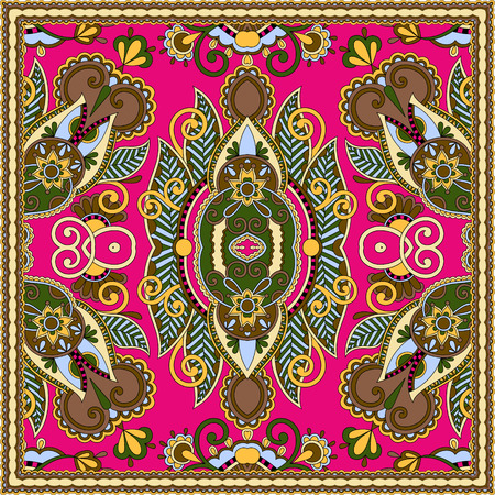 silk scarf: authentic silk neck scarf or kerchief square pattern design in ukrainian style for print on fabric, vector illustration