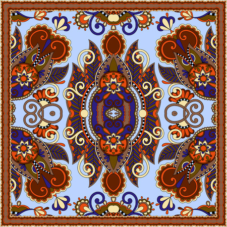 neck scarf: authentic silk neck scarf or kerchief square pattern design in ukrainian style for print on fabric, vector illustration