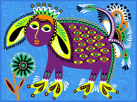 exotic fish: decorative ethnic folk animals in Ukrainian traditional karakoko style - fantasy monsters, vector illustration
