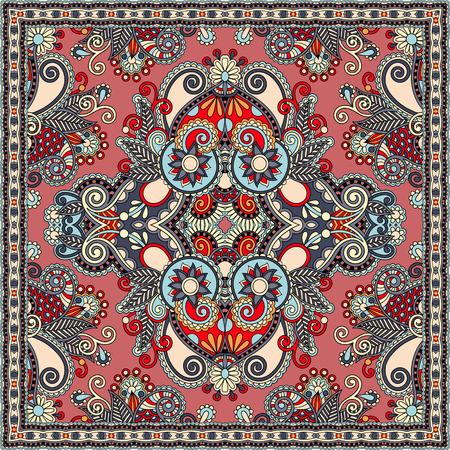 robo: aut�ntica bufanda de seda o de patr�n de dise�o cuadrado pa�uelo en estilo ucraniano para imprimir sobre tela, ilustraci�n vectorial