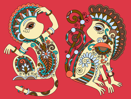 ethno: line art drawing of two ethnic monkey in decorative ukrainian style, colored vector illustration