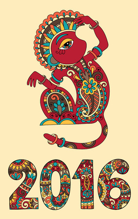 chinese ethnicity: original design for new year celebration with decorative ape and inscription - 2016 Year of The Monkey - on light yellow color background, vector illustration
