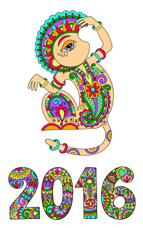 chinese ethnicity: original design for new year celebration with decorative ape and inscription - 2016 Year of The Monkey, vector illustration