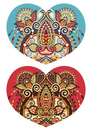 batik: lace heart shape with ethnic floral paisley design for Valentine day, wedding invitation, love design, vector illustration