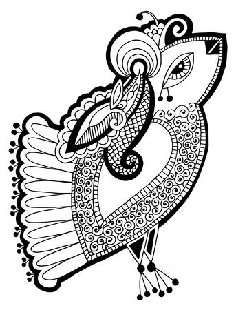 indian peafowl: black and white peacock bird decorative ethnic drawing, vector illustration