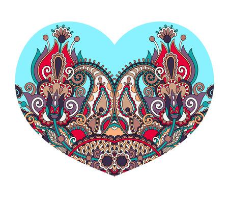 batik: forme de coeur en dentelle avec un design ethnique floral paisley pour le jour de Valentine, invitation de mariage, la conception de l'amour, illustration vectorielle Illustration