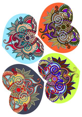batik: forme de coeur quatre dentelle avec un design ethnique floral paisley pour le jour de Valentine, invitation de mariage, la conception de l'amour, illustration vectorielle Illustration