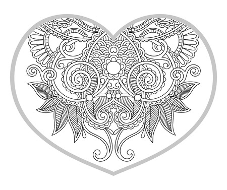 heart shaped pattern for adult and older children coloring book, black and white zentangle background for valentines day greeting card paisley hand made print, vector illustration