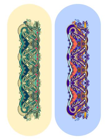 paisley ornemental motif floral ethnique pour bracelet, motif à rayures pour l'impression ou le ruban vecteur de broderie illustration