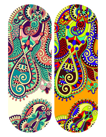 the trappings: ethnic ornamental paisley floral pattern for made bracelet, stripe pattern for print or embroidery ribbon vector illustration