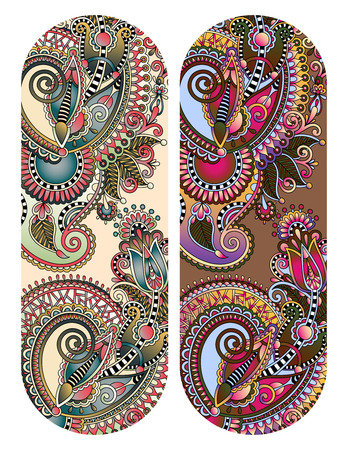 ethnic ornamental paisley floral pattern for made bracelet, stripe pattern for print or embroidery ribbon vector illustration