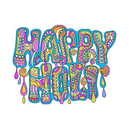 creative colored hand drawing inscription of Indian festival Happy Holi celebration concept on white background, vector illustration
