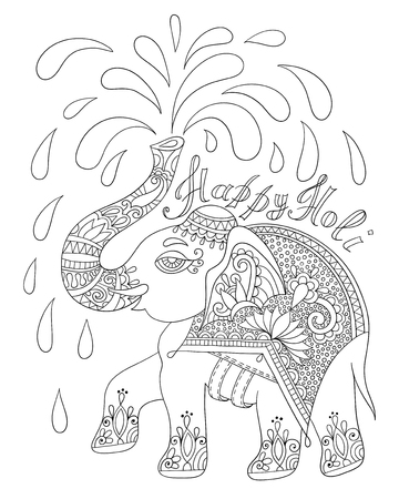 jumbo: black and white decorative elephant with inscription Happy Holy for adult and older children coloring book, vector illustration