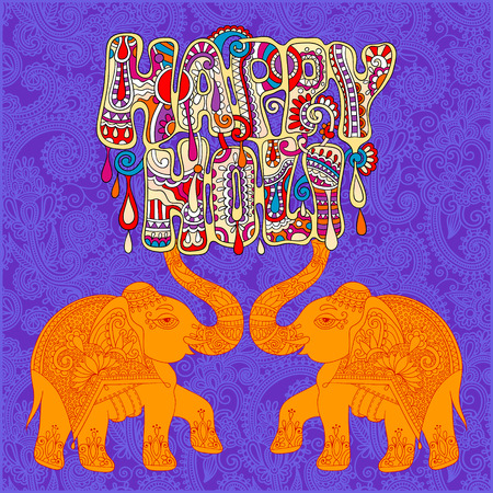 happy holi: original Happy Holi design with two elephants on floral indian background, vector illustration