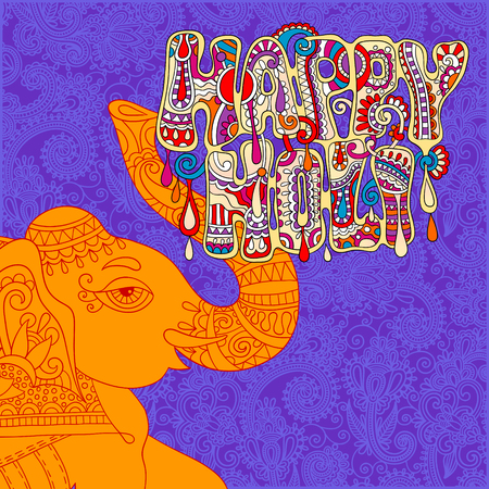 gulal: original Happy Holi design with head elephants on floral indian background, vector illustration