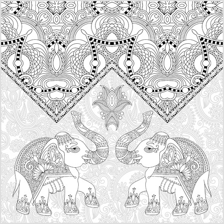 original: unique coloring book page for adults - flower paisley design with two elephant, joy to older children and adult colorists, who like line art and creation, vector illustration Illustration