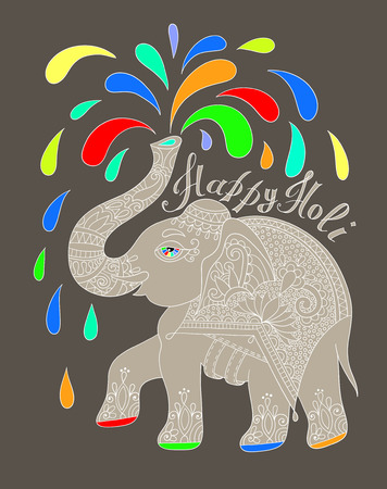asian and indian ethnicities: original greeting card Happy Holi design with elephant, vector illustration Illustration