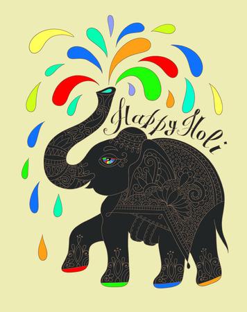devotional: original greeting card Happy Holi design with elephant, vector illustration Illustration