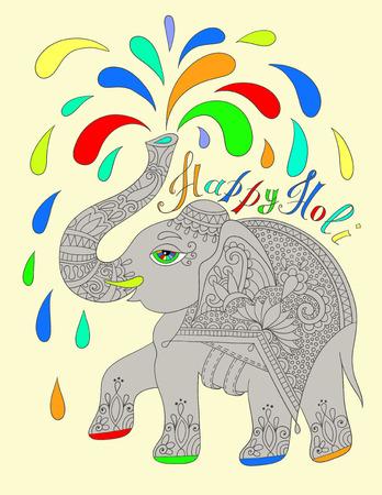 pichkari: original greeting card Happy Holi design with elephant, vector illustration Illustration