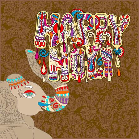 original Happy Holi design with head elephants on floral indian background, vector illustration