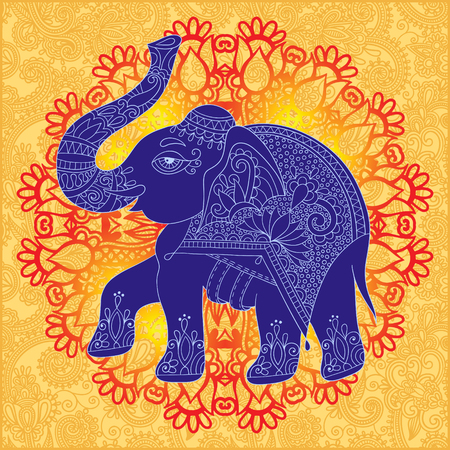 jumbo: original indian pattern with elephant for invitation, cover design, fabric pattern or page decoration, ethnic border on vintage flower background, vector illustration Illustration
