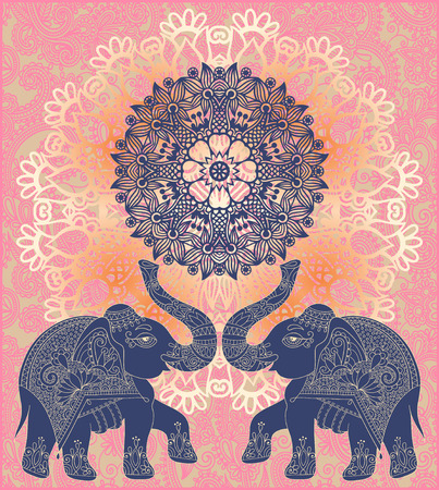 pichkari: original indian pattern with two elephants for invitation, cover design, fabric pattern or page decoration, ethnic border on vintage flower background, vector illustration