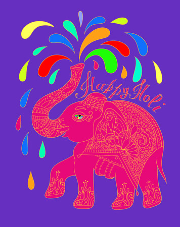 jumbo: original greeting card Happy Holi design with elephant, vector illustration Illustration