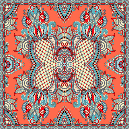 sarong: authentic silk neck scarf or kerchief square pattern design in ukrainian style for print on fabric, vector illustration