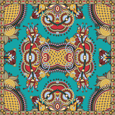 voile: authentic silk neck scarf or kerchief square pattern design in ukrainian style for print on fabric, vector illustration