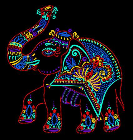 ethnic folk art indian elephant, vector dot painting illustration