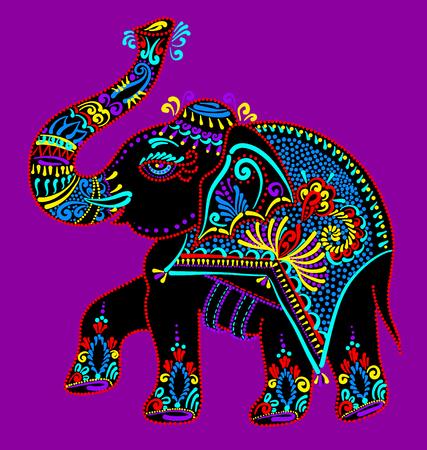 ethnic folk art indian elephant, vector dot painting illustration Иллюстрация