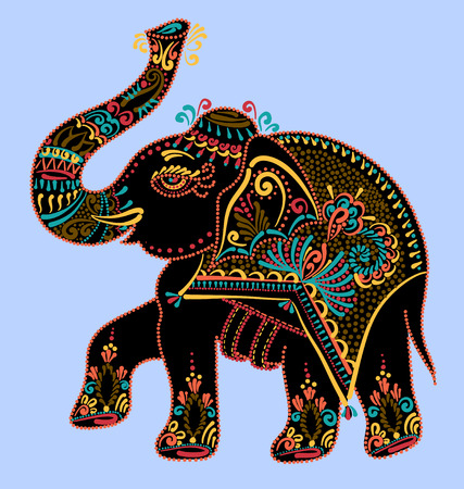 ethnic folk art indian elephant, vector dot painting illustration Vectores