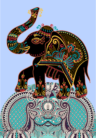 onam: ethnic folk art indian elephant, vector dot painting illustration Illustration