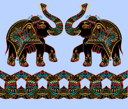 original: ethnic folk art indian elephant, vector dot painting illustration Illustration