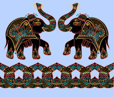 ethnic folk art indian elephant, vector dot painting illustration Illustration
